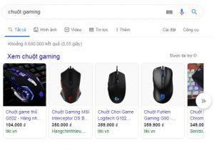 quảng cáo shopping thiết bị chuột chơi game